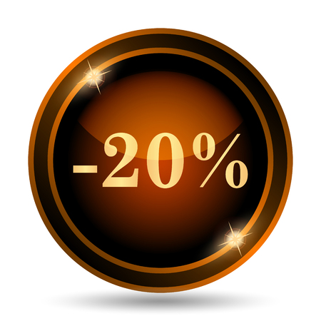20: 20 percent discount icon. Internet button on white background. Stock Photo