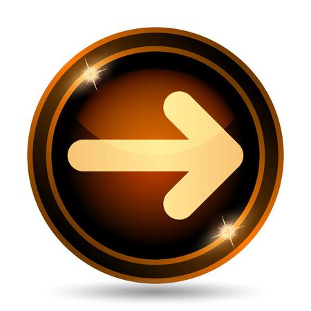 右矢印アイコン。白い背景の上のインター ネット ボタン。