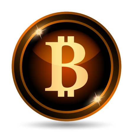 peer: Bitcoin icon. Internet button on white background.