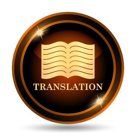 Translation book icon. Internet button on white background.