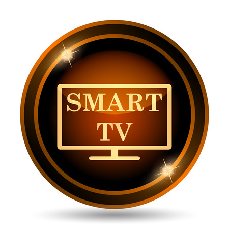 internet background: Smart tv icon. Internet button on white background.
