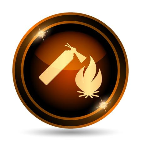 Fire icon. Internet button on white background.
