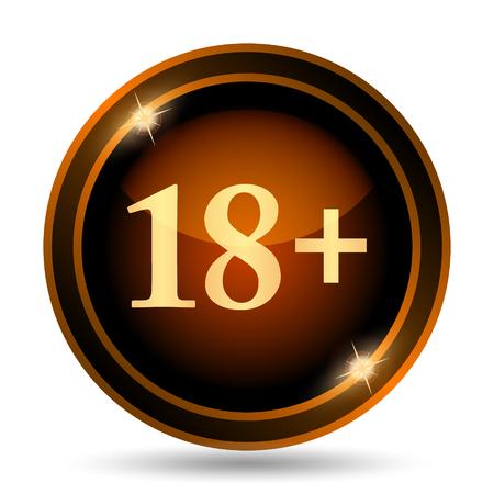 tech no: 18 plus icon. Internet button on white background.