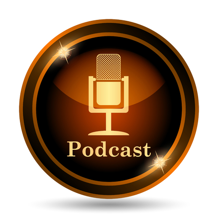 gold record: Podcast icon. Internet button on white background.