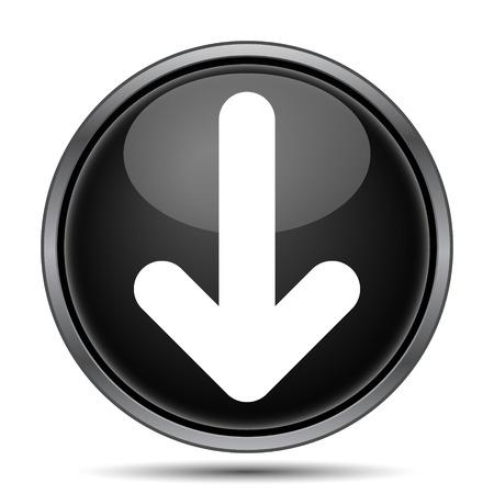 下矢印アイコン。白い背景の上のインター ネット ボタン。