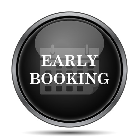 e ticket: Early booking icon. Internet button on white background.