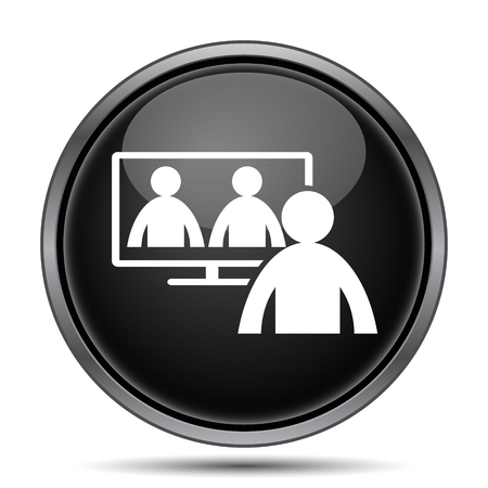 Video conference, online meeting icon. Internet button on white background. Stock Photo
