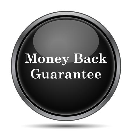 e commerce icon: Money back guarantee icon. Internet button on white background.