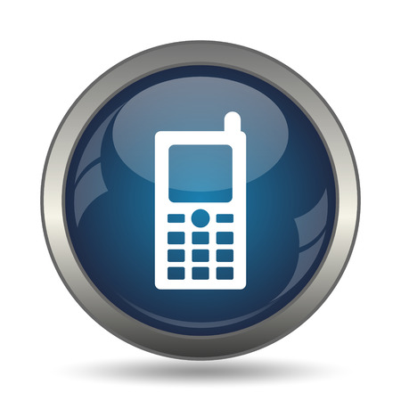 phone button: Mobile phone icon. Internet button on white background. Stock Photo