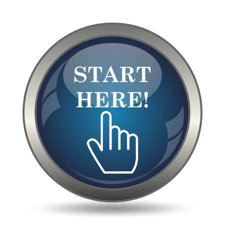 Haga clic aquí icono. Botón de internet sobre fondo blanco.