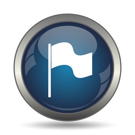 white flag: Flag icon. Internet button on white background. Stock Photo