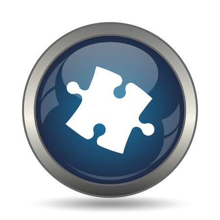 piece: Puzzle piece icon. Internet button on white background. Stock Photo