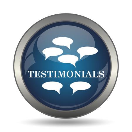 testimonial: Testimonials icon. Internet button on white background.
