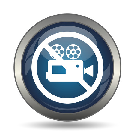 no cameras allowed: Forbidden video camera icon. Internet button on white background. Stock Photo