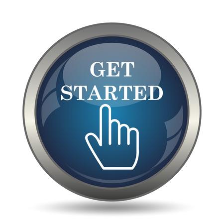 Erste Schritte Symbol. Internet-Taste auf weißem Hintergrund. Standard-Bild