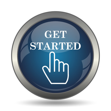 Get started icon. Internet button on white background. Stock fotó