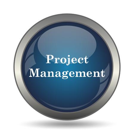 gestion empresarial: Icono de la gesti�n de proyectos. Bot�n de internet sobre fondo blanco.