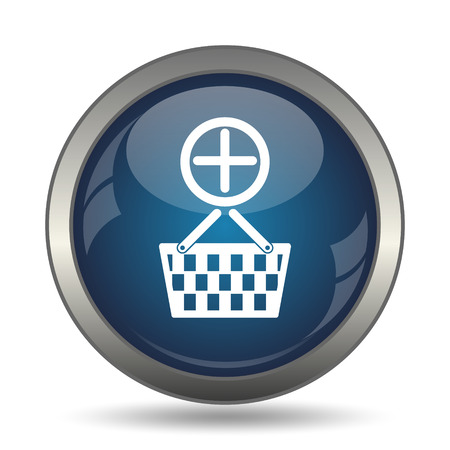 add to basket: Add to basket icon. Internet button on white background.