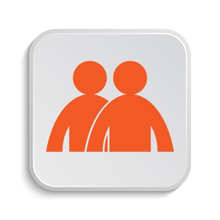 personas dialogando: Icono Foro. Botón de internet sobre fondo blanco.