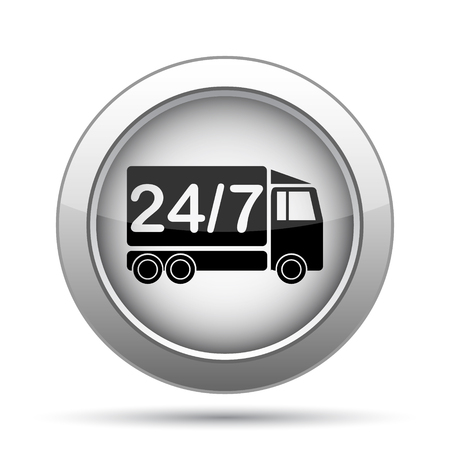 24 7: 24 7 delivery truck icon. Internet button on white background.