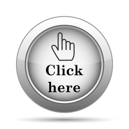 click button: Click here icon. Internet button on white background.