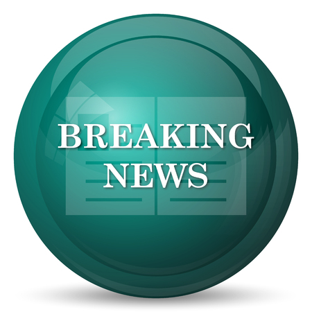 news flash: Breaking news icon. Internet button on white background.