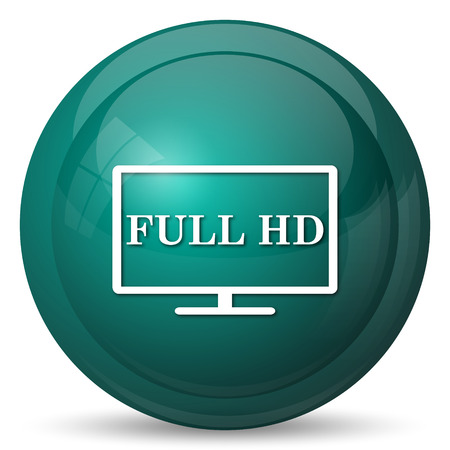hd: Full HD icon. Internet button on white background.