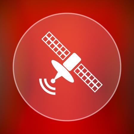 world receiver: Antenna icon. Internet button on red background.