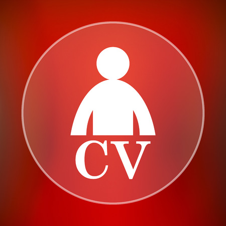 vacancy: CV icon. Internet button on red background. Stock Photo