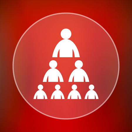 organizational chart: Organizational chart with people icon. Internet button on red background.