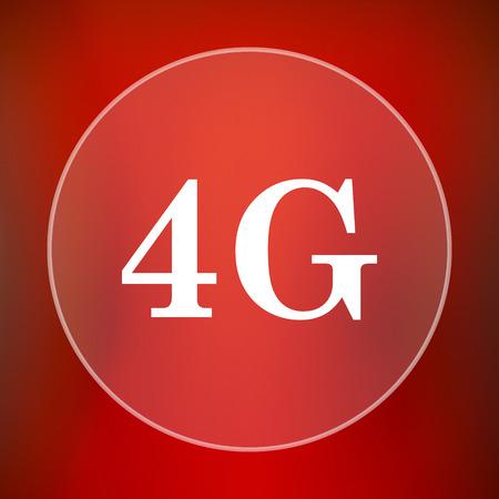 4g: 4G icon. Internet button on red background.