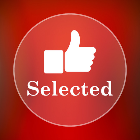 selected: Selected icon. Internet button on red background. Stock Photo