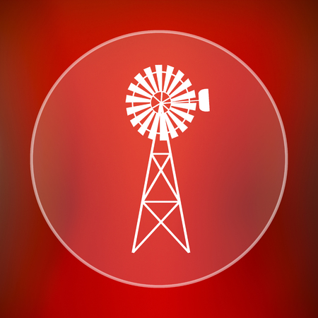 alternate: Classic windmill icon. Internet button on red background. Stock Photo