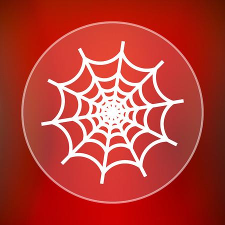 spider web: Spider web icon. Internet button on red background.