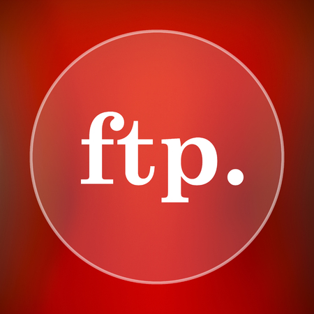 ftp: ftp. icon. Internet button on red background.