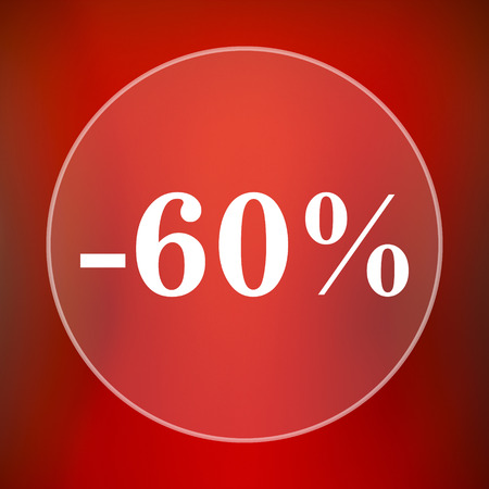 60: 60 percent discount icon. Internet button on red background.