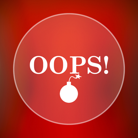 oops: Oops icon. Internet button on red background.