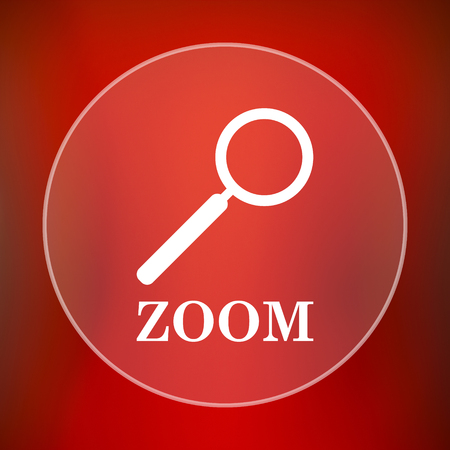 loupe: Zoom with loupe icon. Internet button on red background. Stock Photo