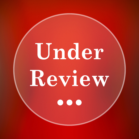 canceled: Under review icon. Internet button on red background. Stock Photo