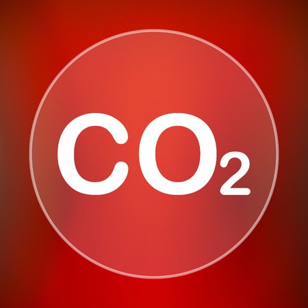 co2: CO2 icon. Internet button on red background.