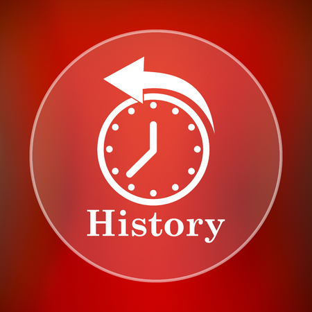 history icon: History icon. Internet button on red background.