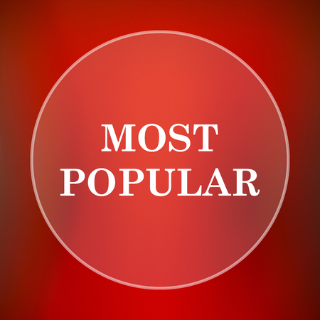 most popular: Most popular icon. Internet button on red background.