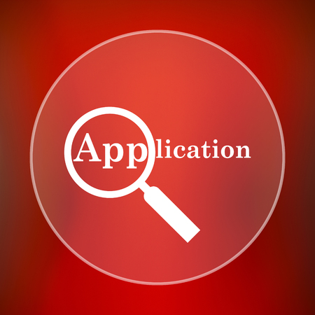 petition: Application icon. Internet button on red background.