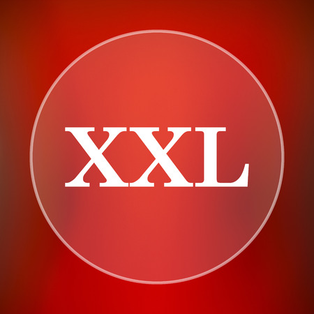size specification: XXL  icon. Internet button on red background. Stock Photo