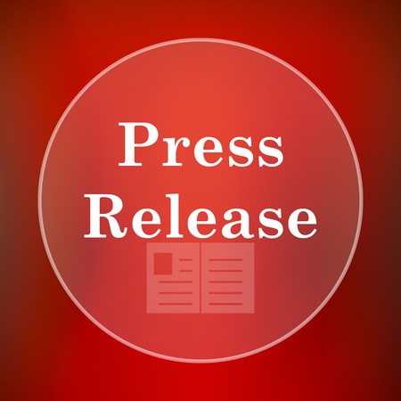 release: Press release icon. Internet button on red background.
