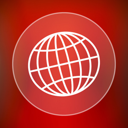 parallel world: Globe icon. Internet button on red background.