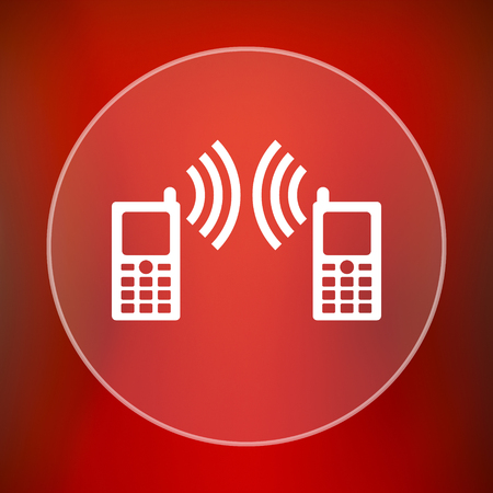 palmtop: Communication icon. Internet button on red background. Stock Photo