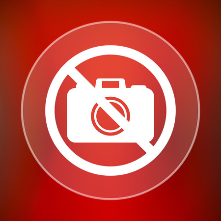 no cameras allowed: Forbidden camera icon. Internet button on red background. Stock Photo