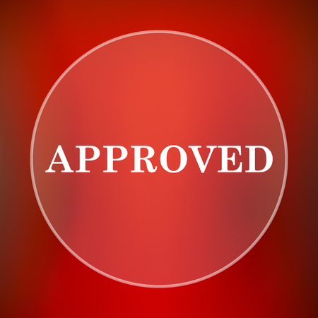 approved icon: Approved icon. Internet button on red background.