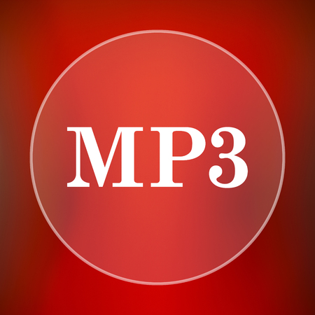 mp3: MP3 icon. Internet button on red background.